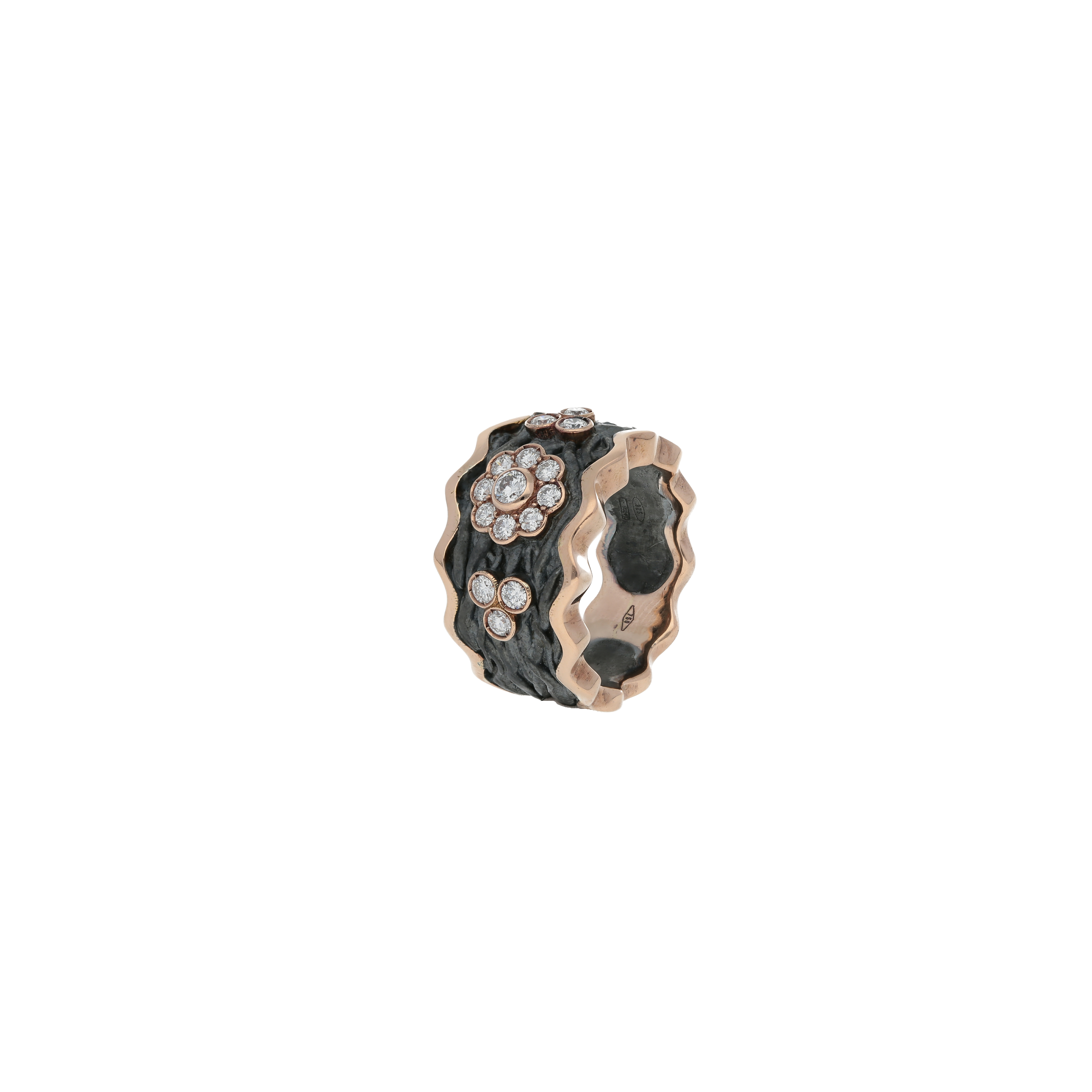 roots collection flower ring oxidized silve 18kt rose gold and diamonds