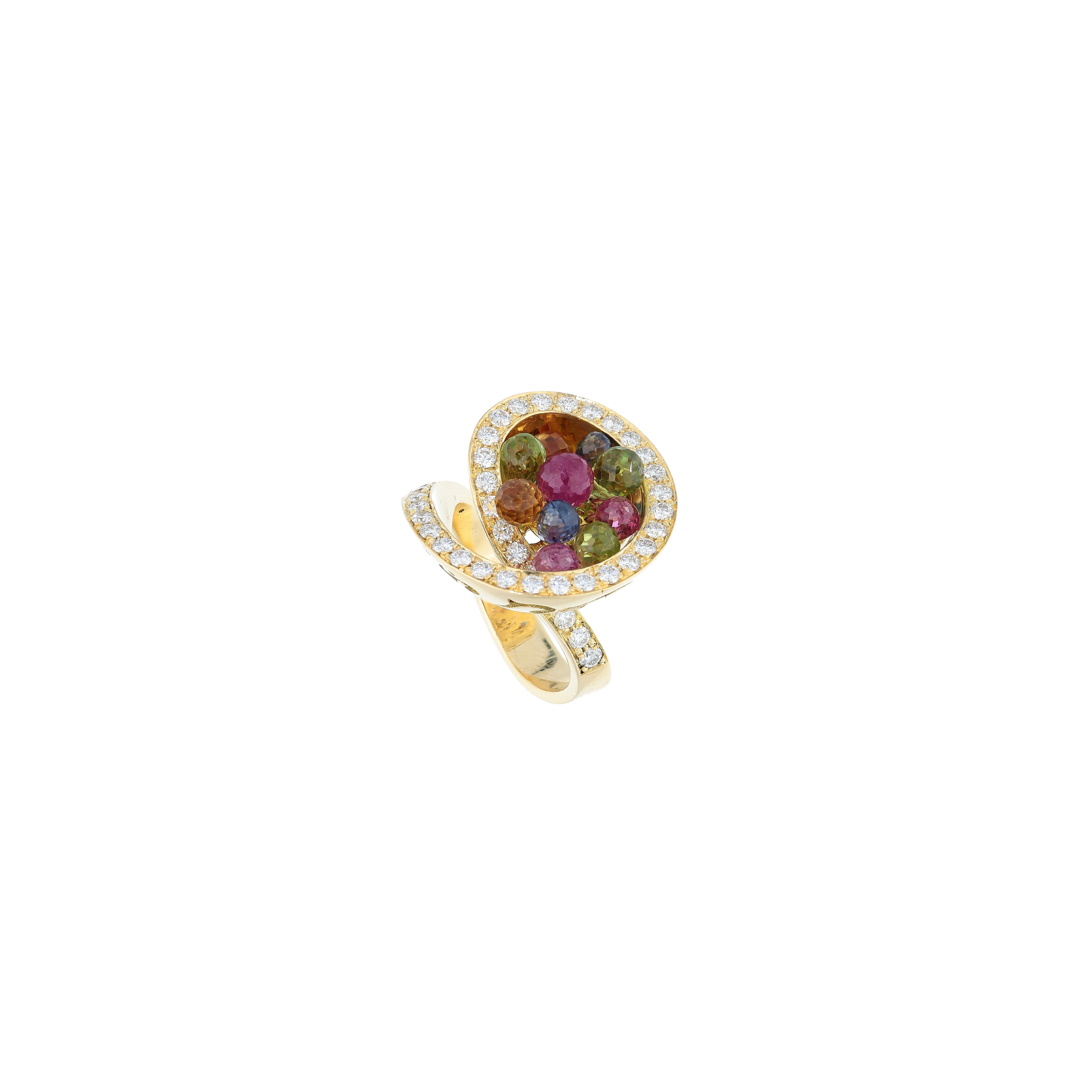 Multi-color gemstones ring with diamonds in 18kt gold