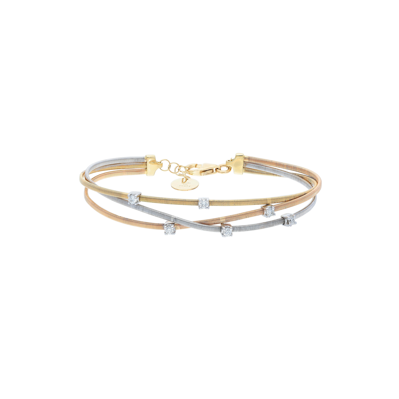 tri color Bracelet in 18kt gold with diamonds