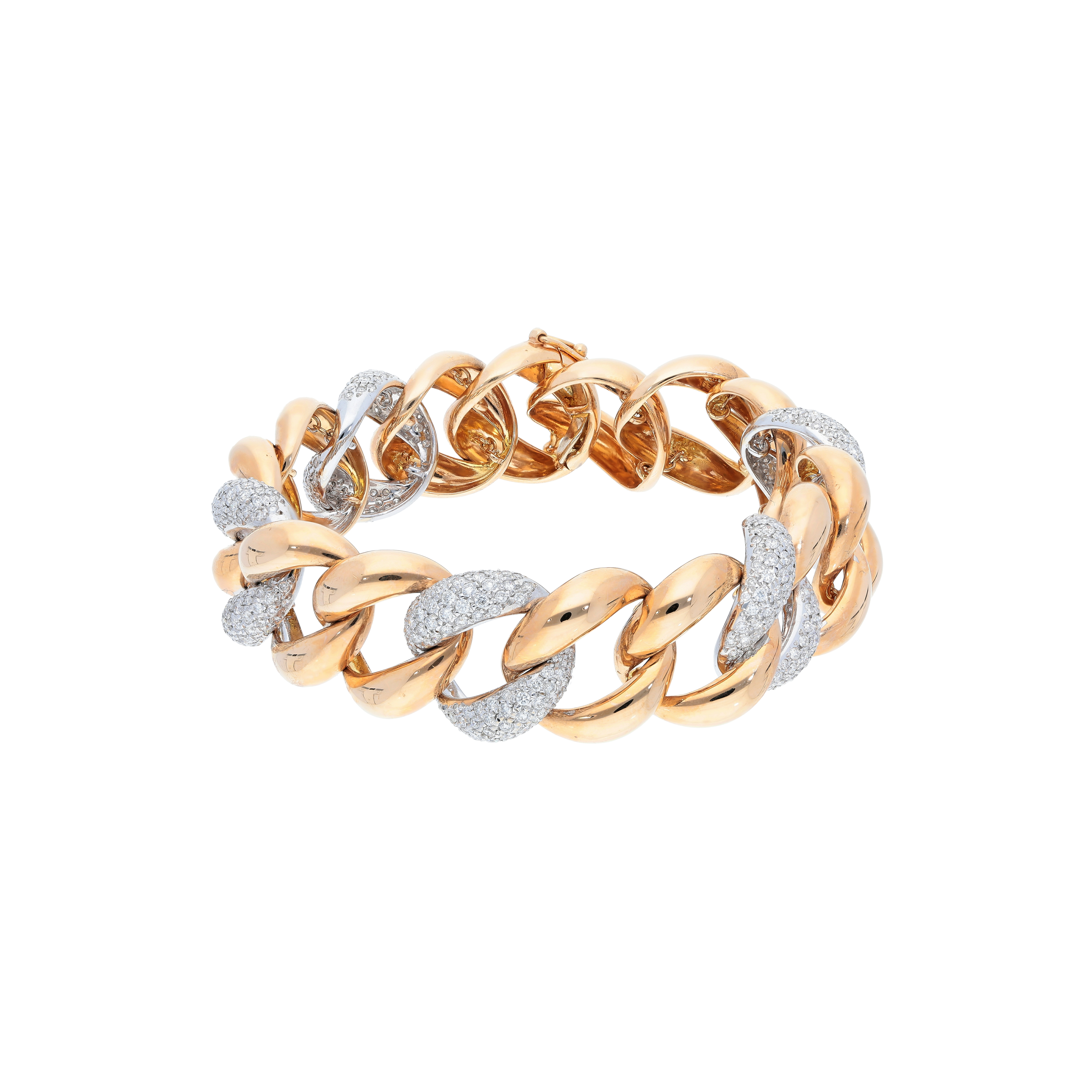 chain link bracelet Handmade 18kt rose and white gold with diamond