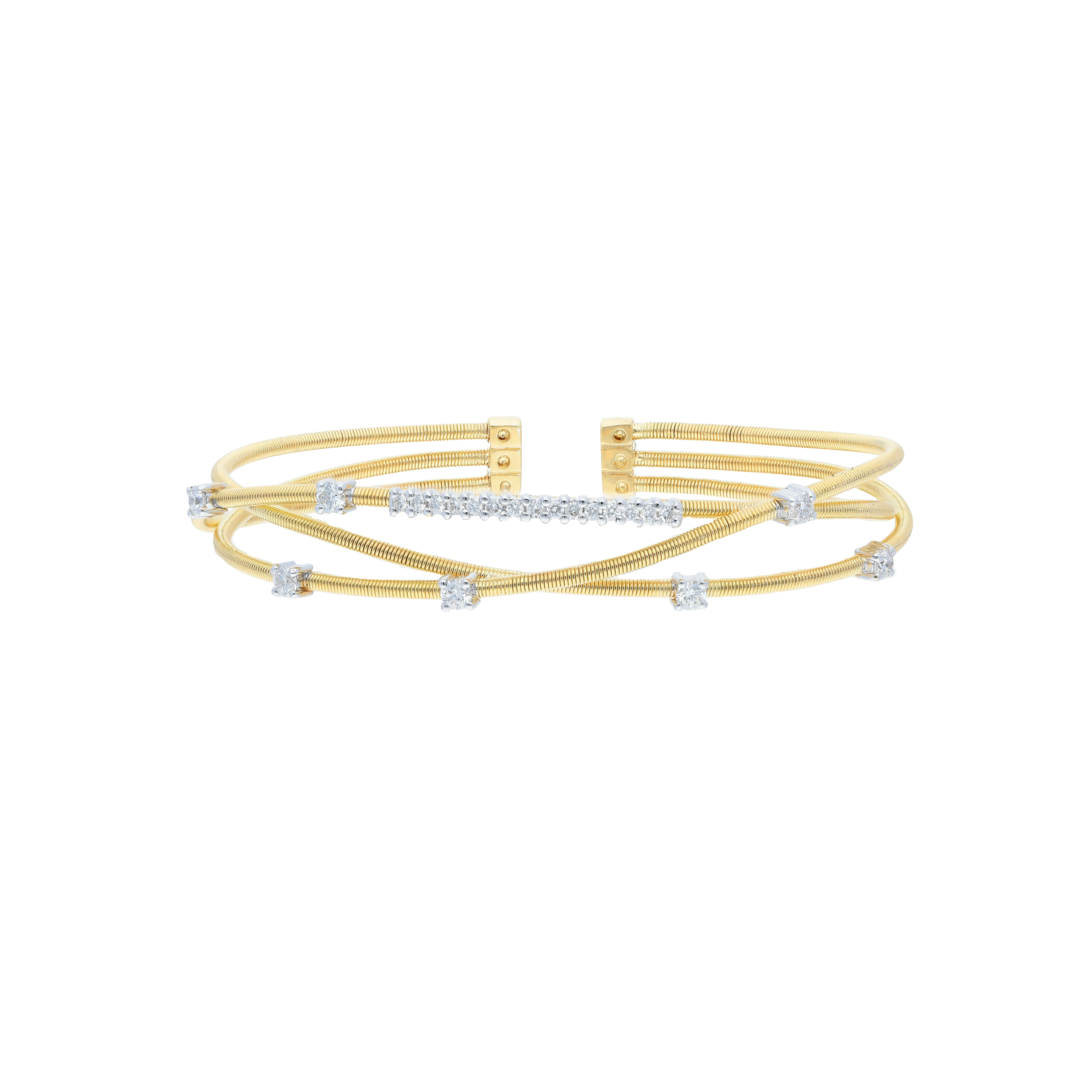 Italian cuff bracelet in 18 kt two tone yellow and white gold with diamonds