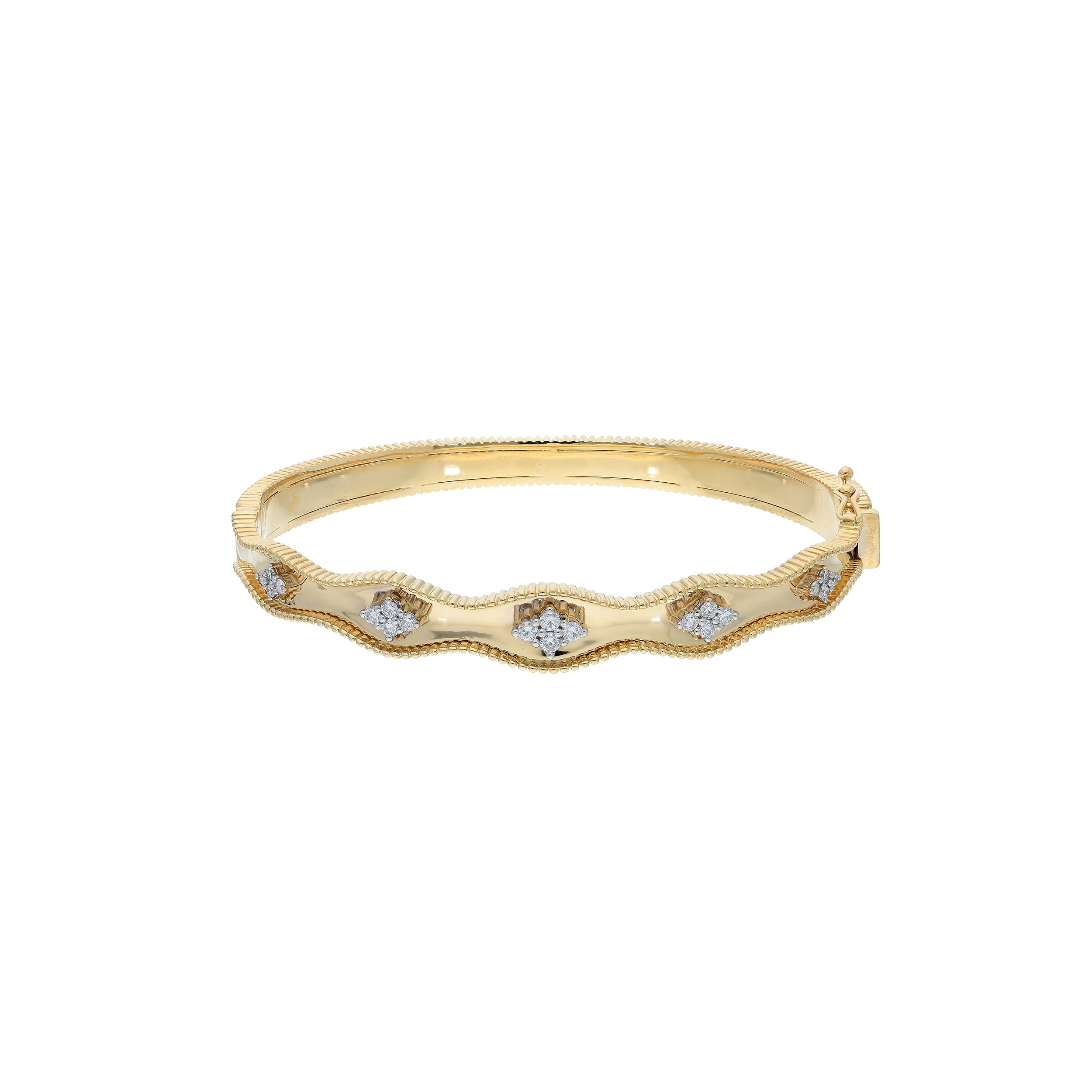 Bangle bracelet 18 kt yellow and white gold with diamonds