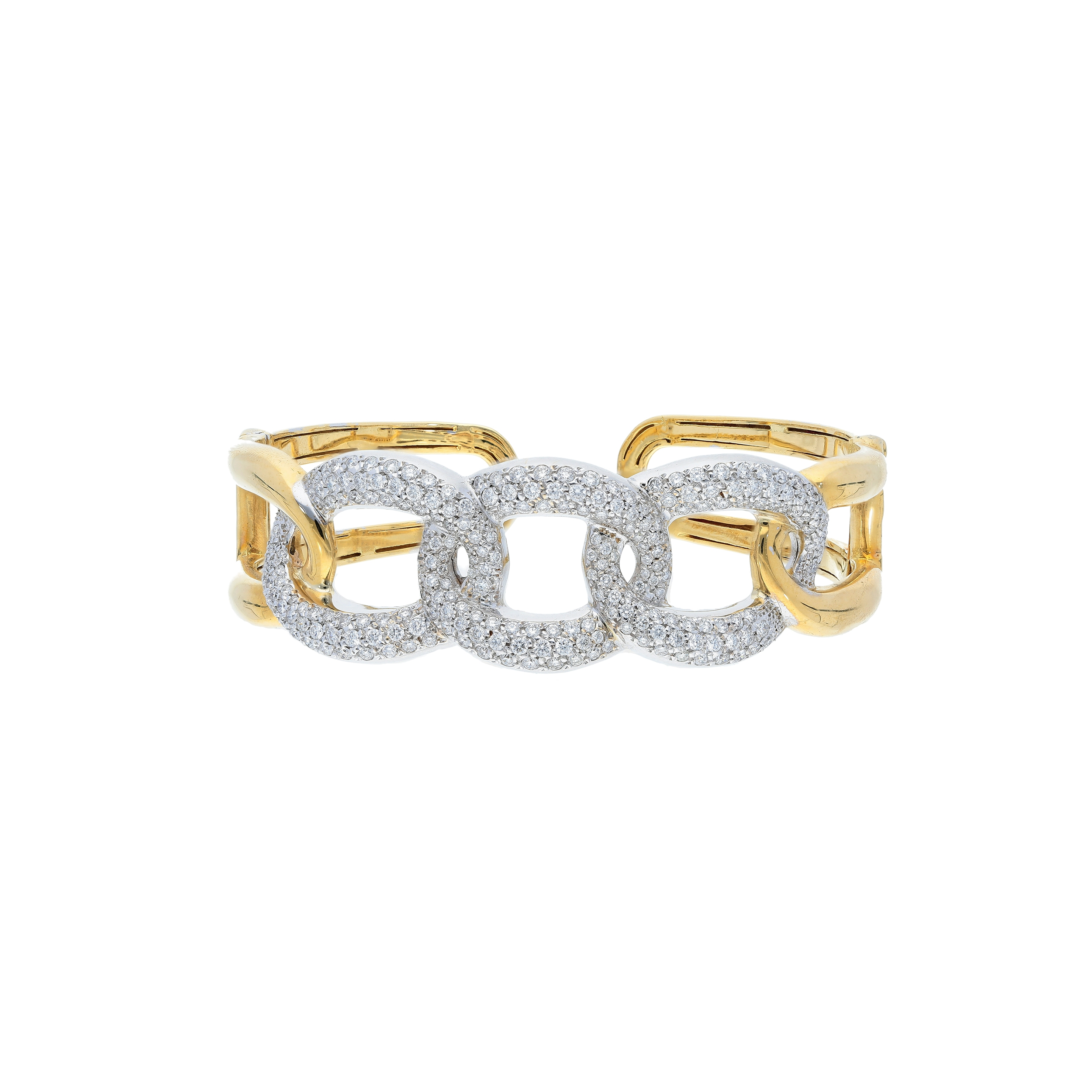 Bangle linked pave diamonds in 18 kt yellow and white gold