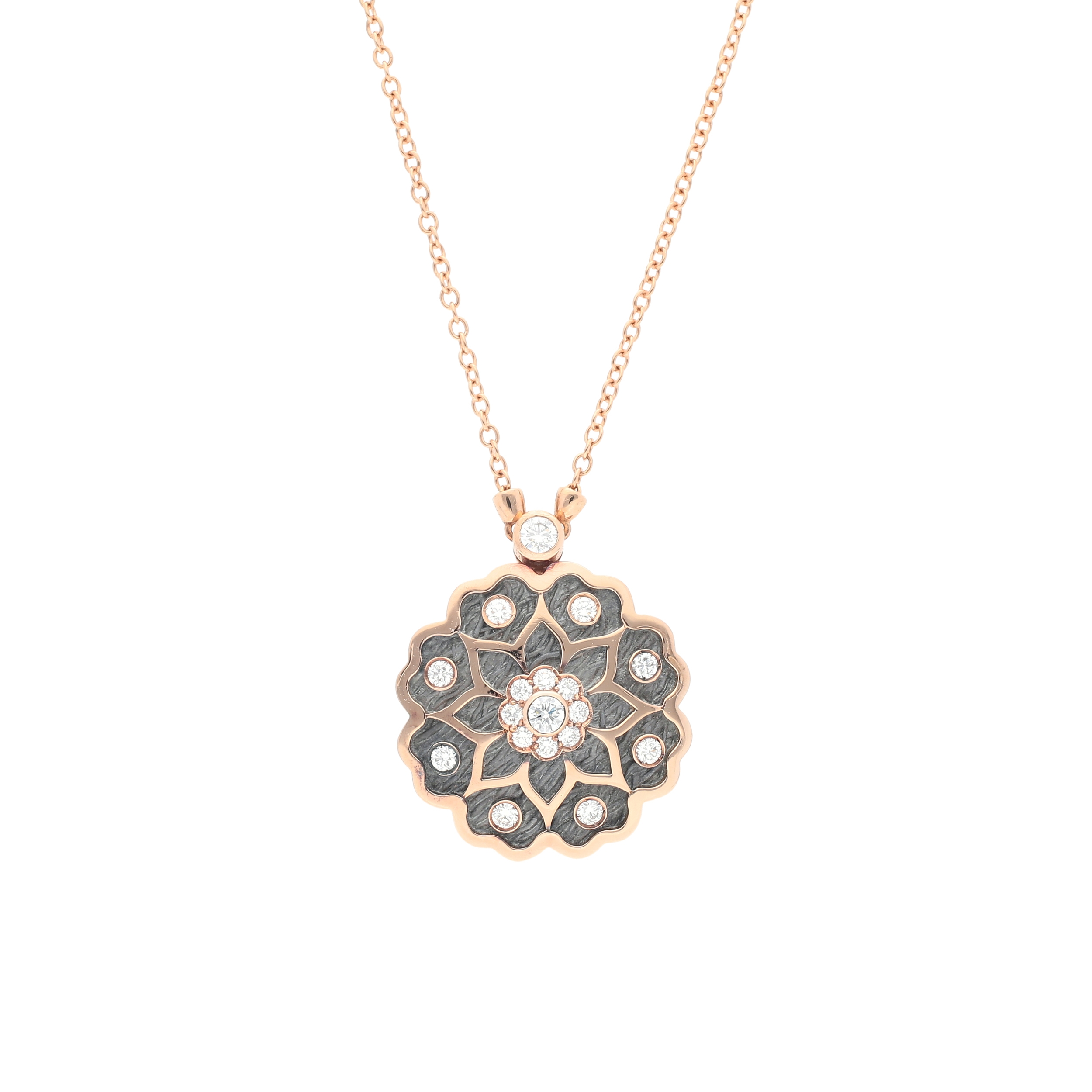 roots collection Pendant silver oxidized and 18 kt rose gold with diamonds