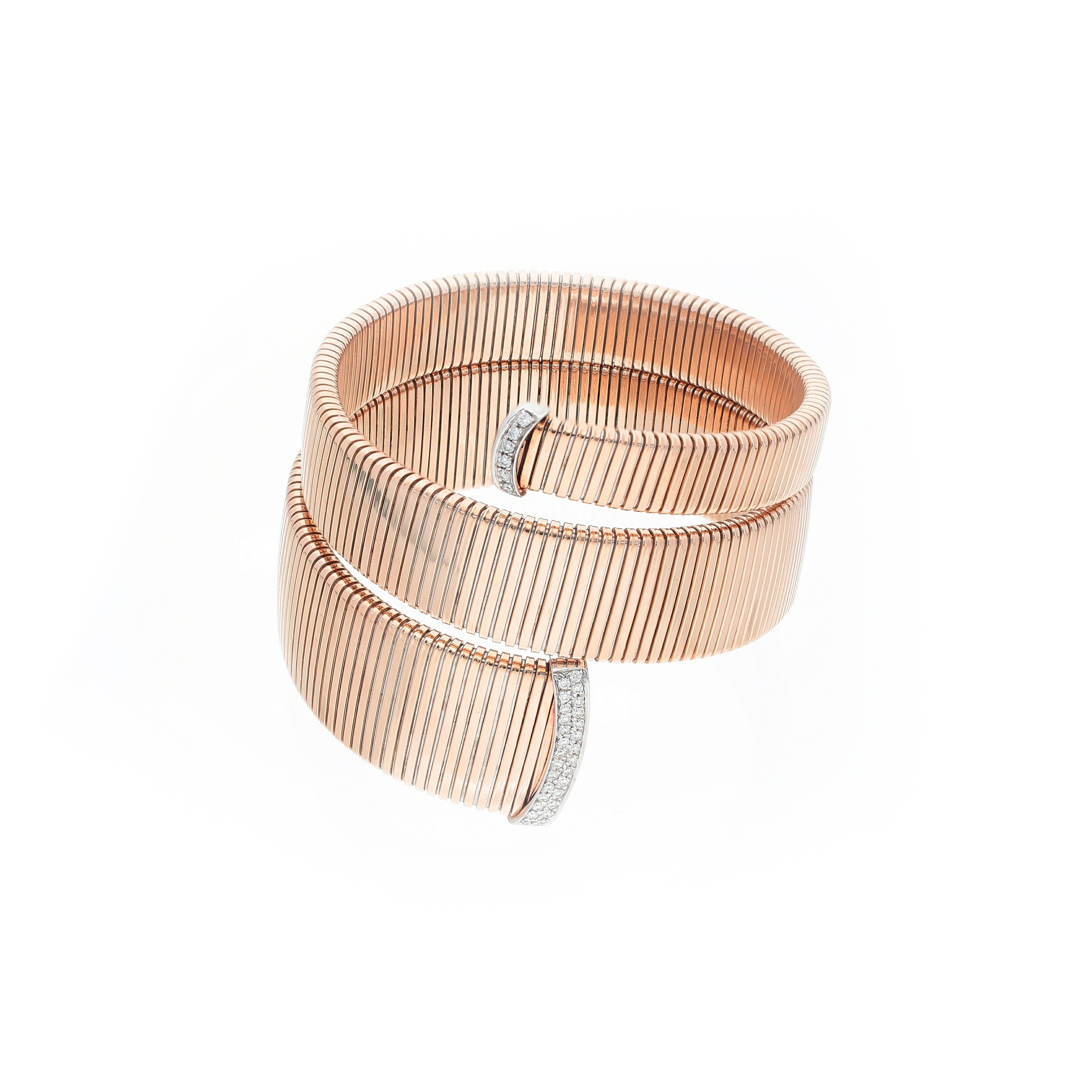 Modern Gas tube Bracelet in 18kt rose and white gold with diamonds