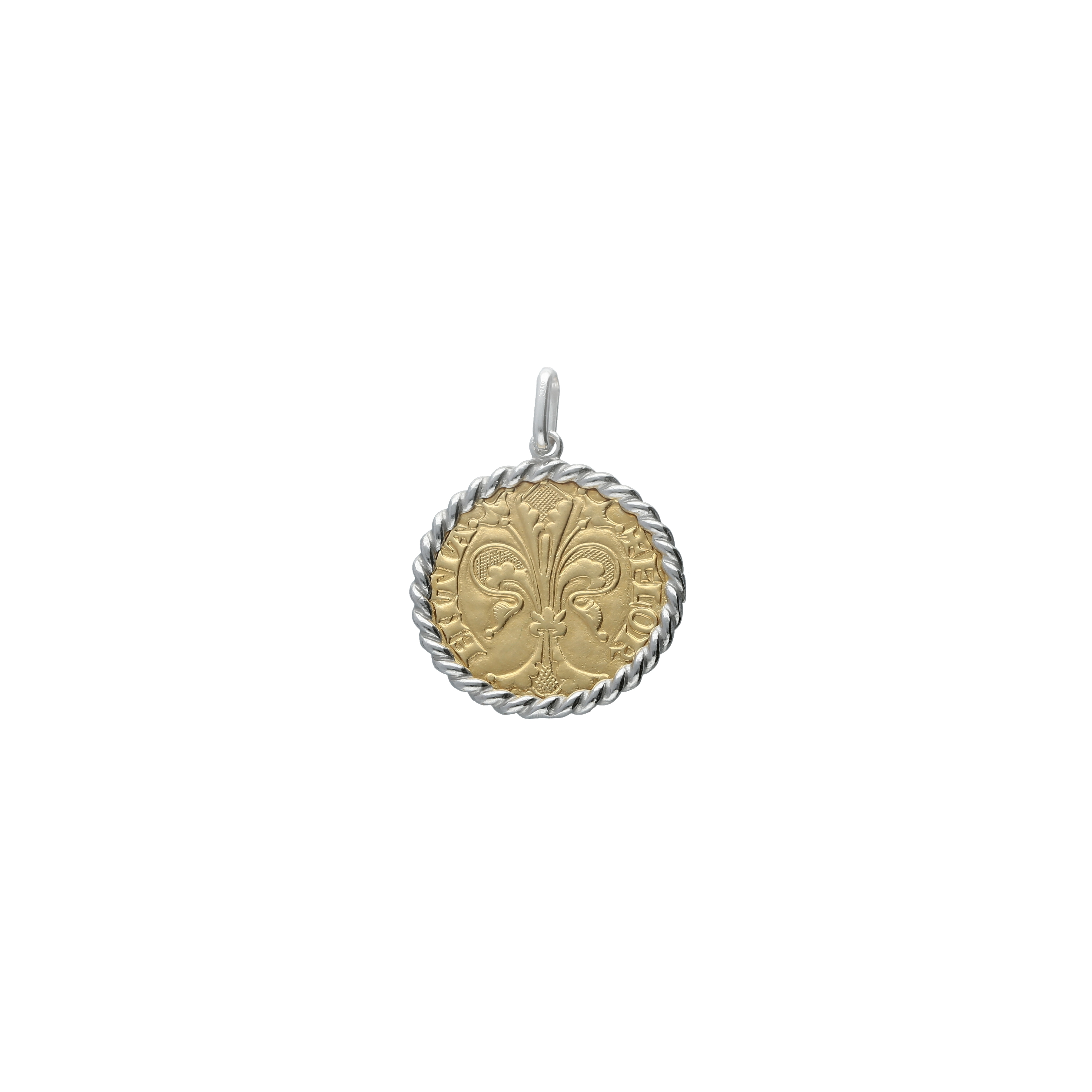 Pendant Charm Florentine coin fiorino in 18kt two tone gold