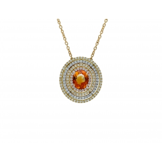 Saturno Collection Necklace Orange Citrine and diamonds in