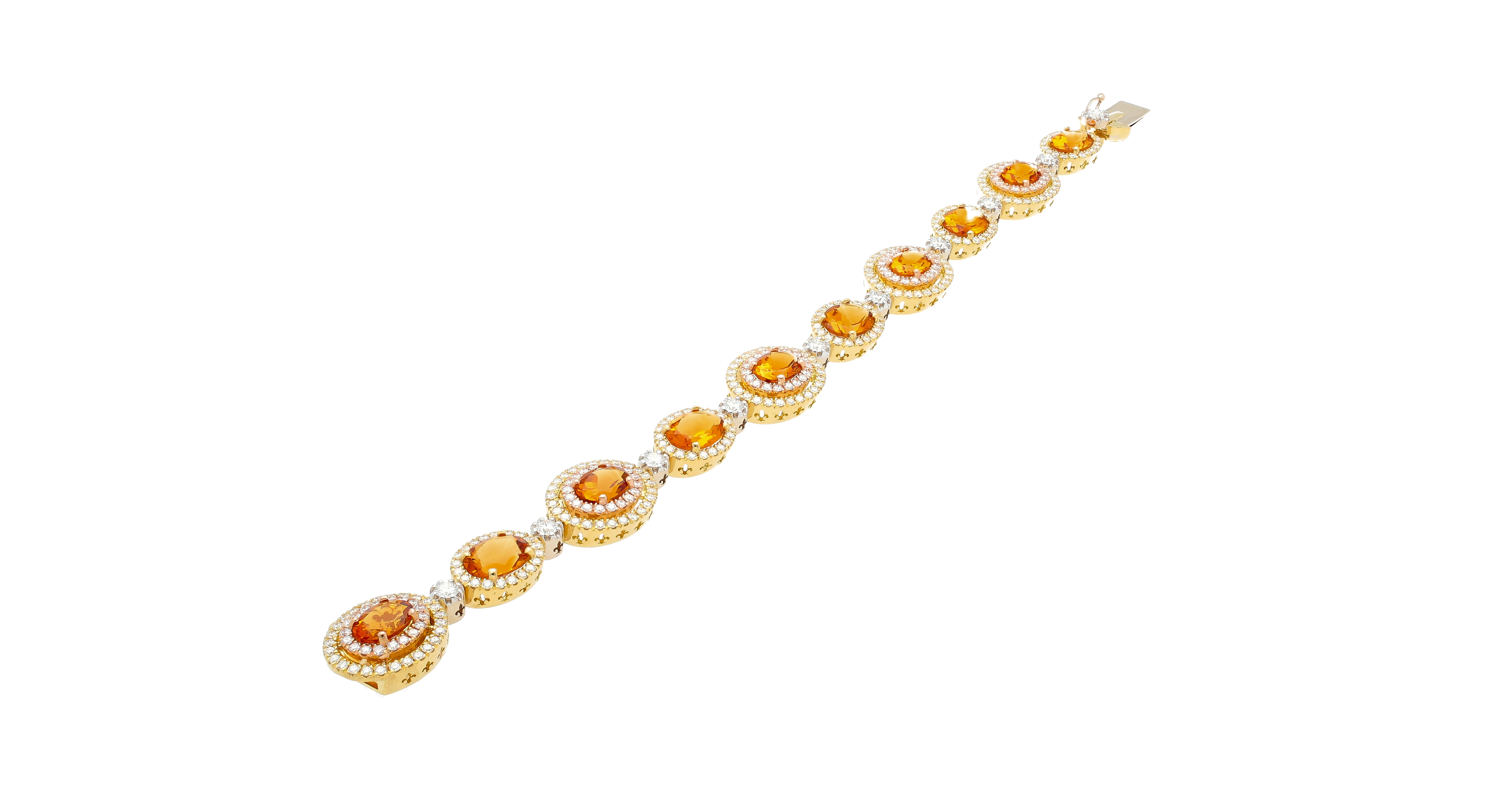 Saturno Collection bracelet Orange Citrine and diamonds in three colors 18kt gold