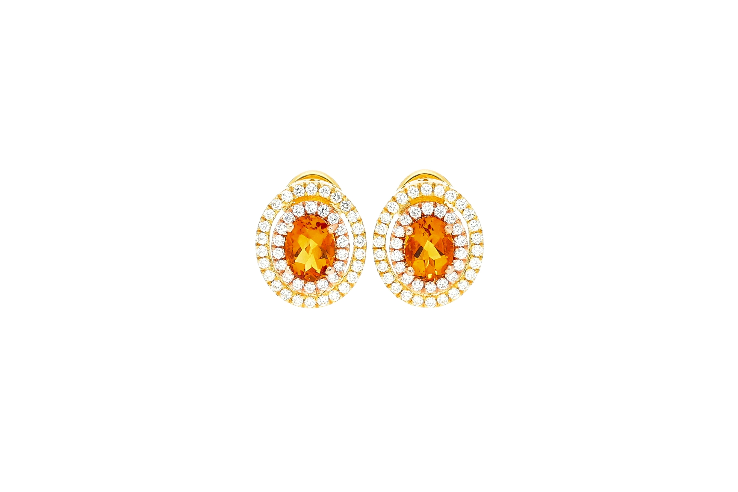 Saturno Collection earrings Orange Citrine and diamonds in 18kt gold