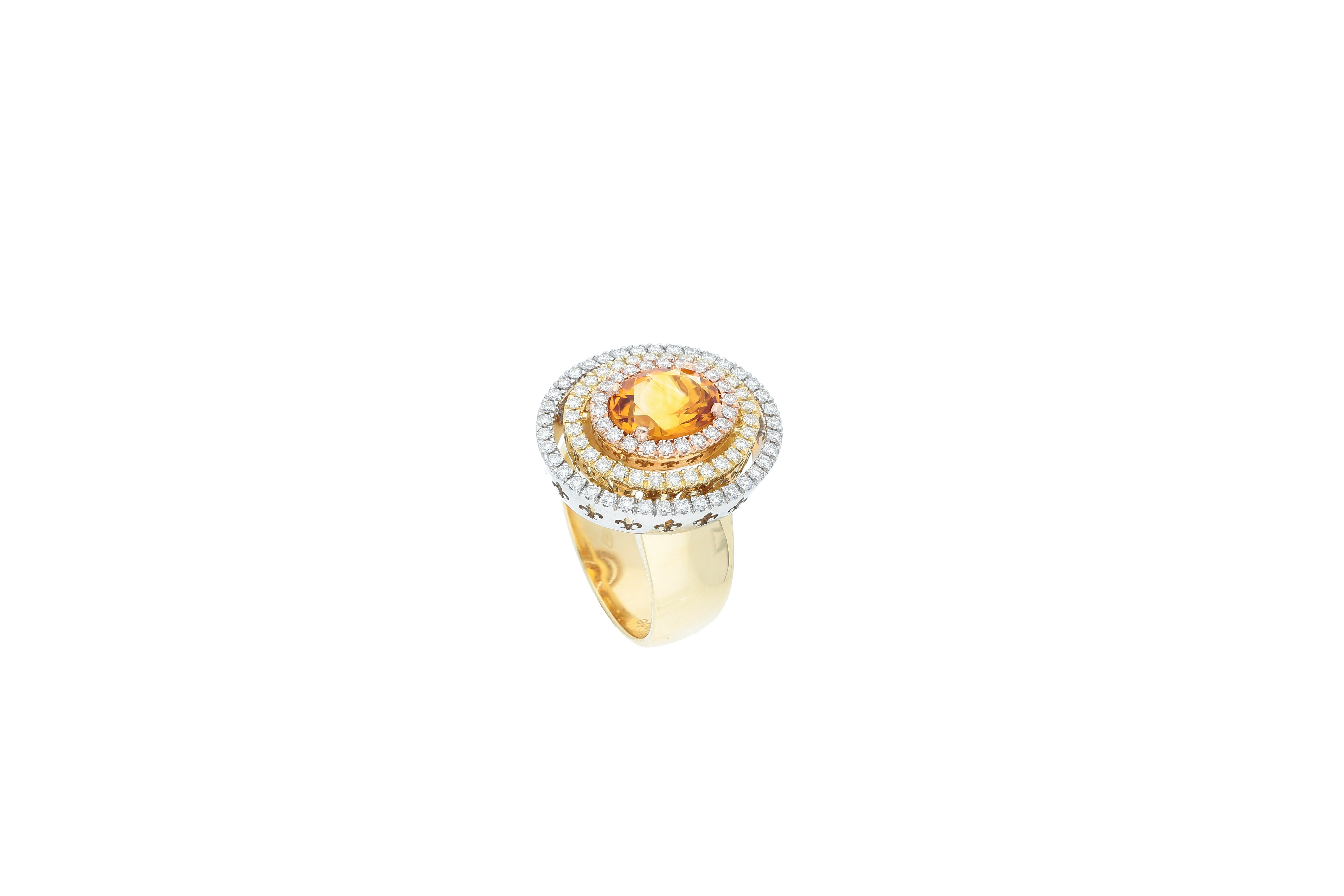 Saturno Collection Ring Orange Citrine and diamonds in three colors 18kt gold