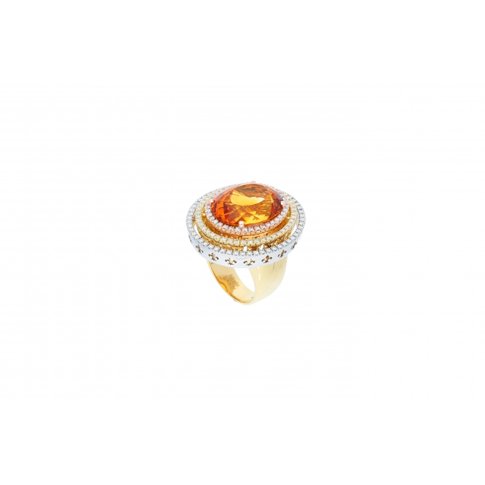 Saturno Collection Ring Orange Citrine and diamonds in three