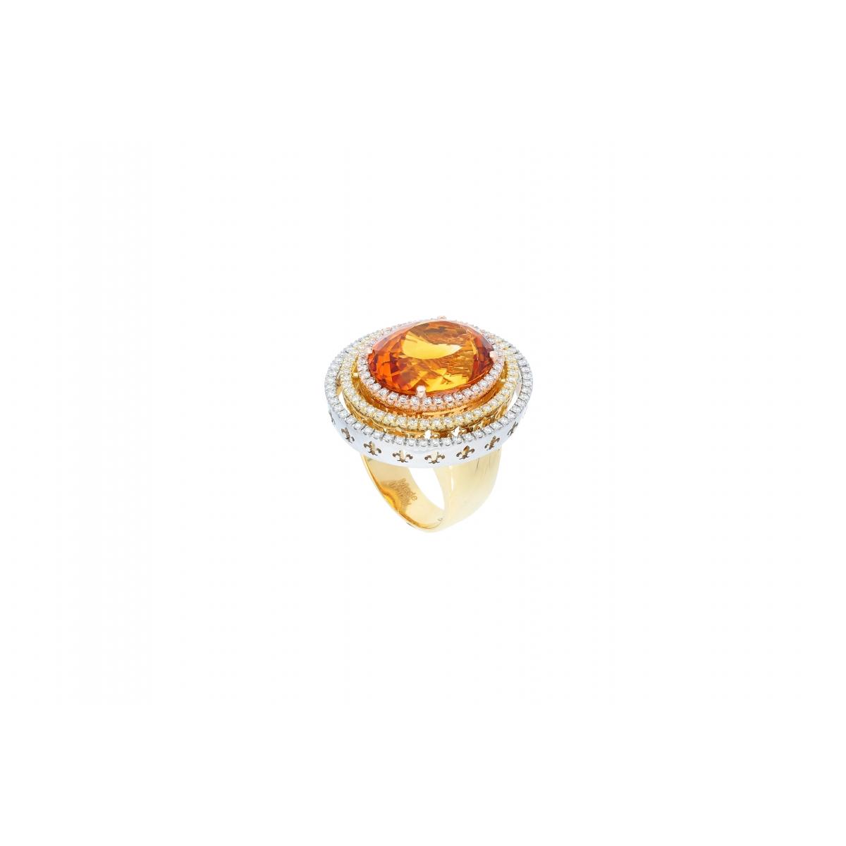 Saturno Collection Ring Orange Citrine and diamonds in three