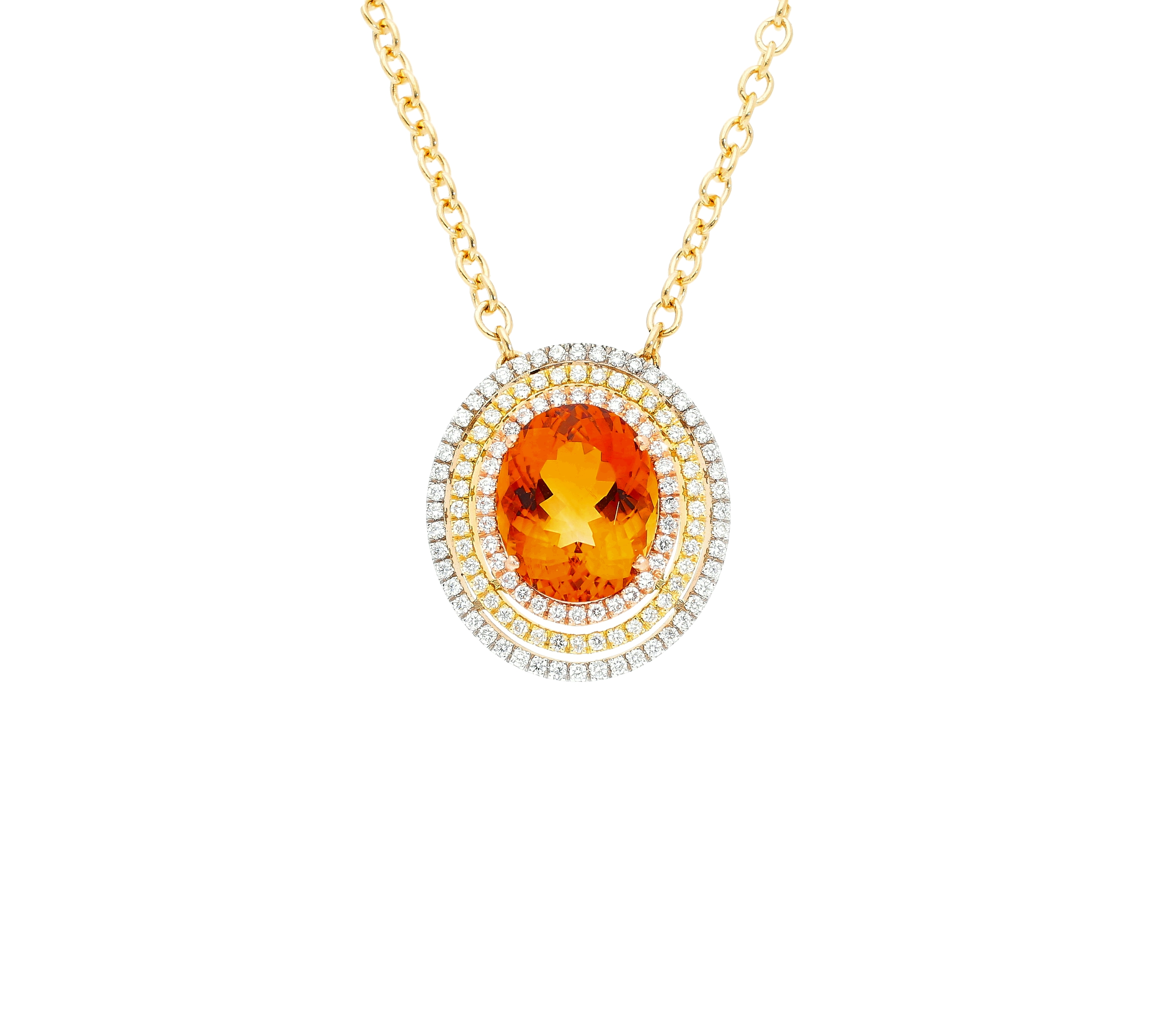 Saturno Collection necklace Orange Citrine and diamonds in three colors 18kt gold
