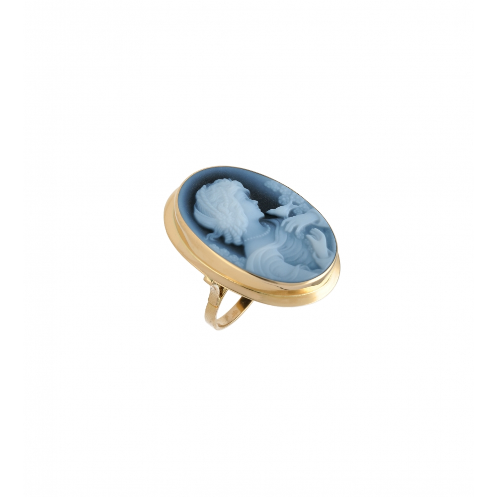 Blue Cameo agate ring in...