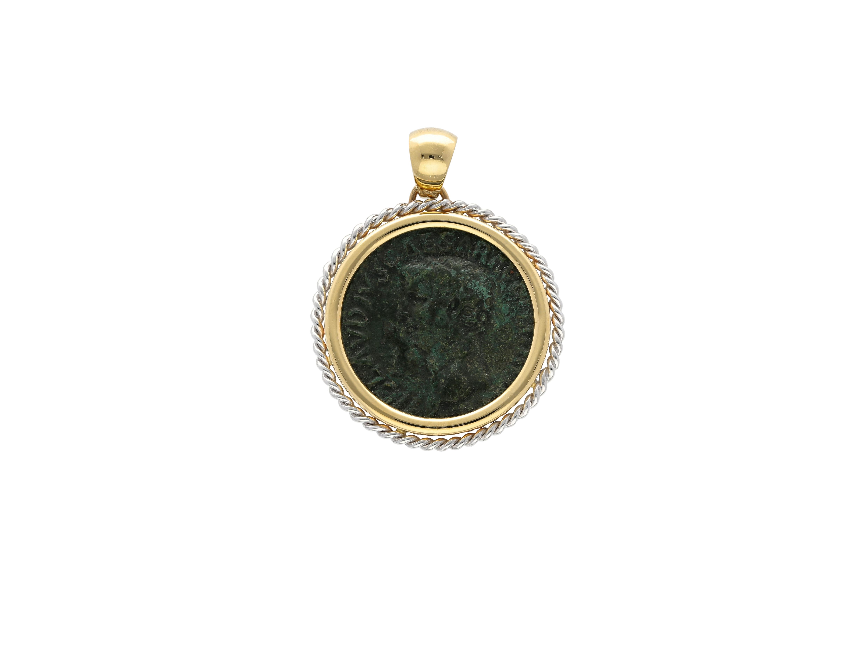 Emperor Claudius Roman Coin Pendant in 18kt gold