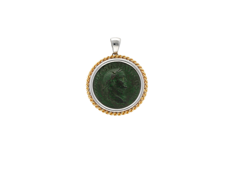 Roman Coin Pendant Emperor vespasian in 18kt gold