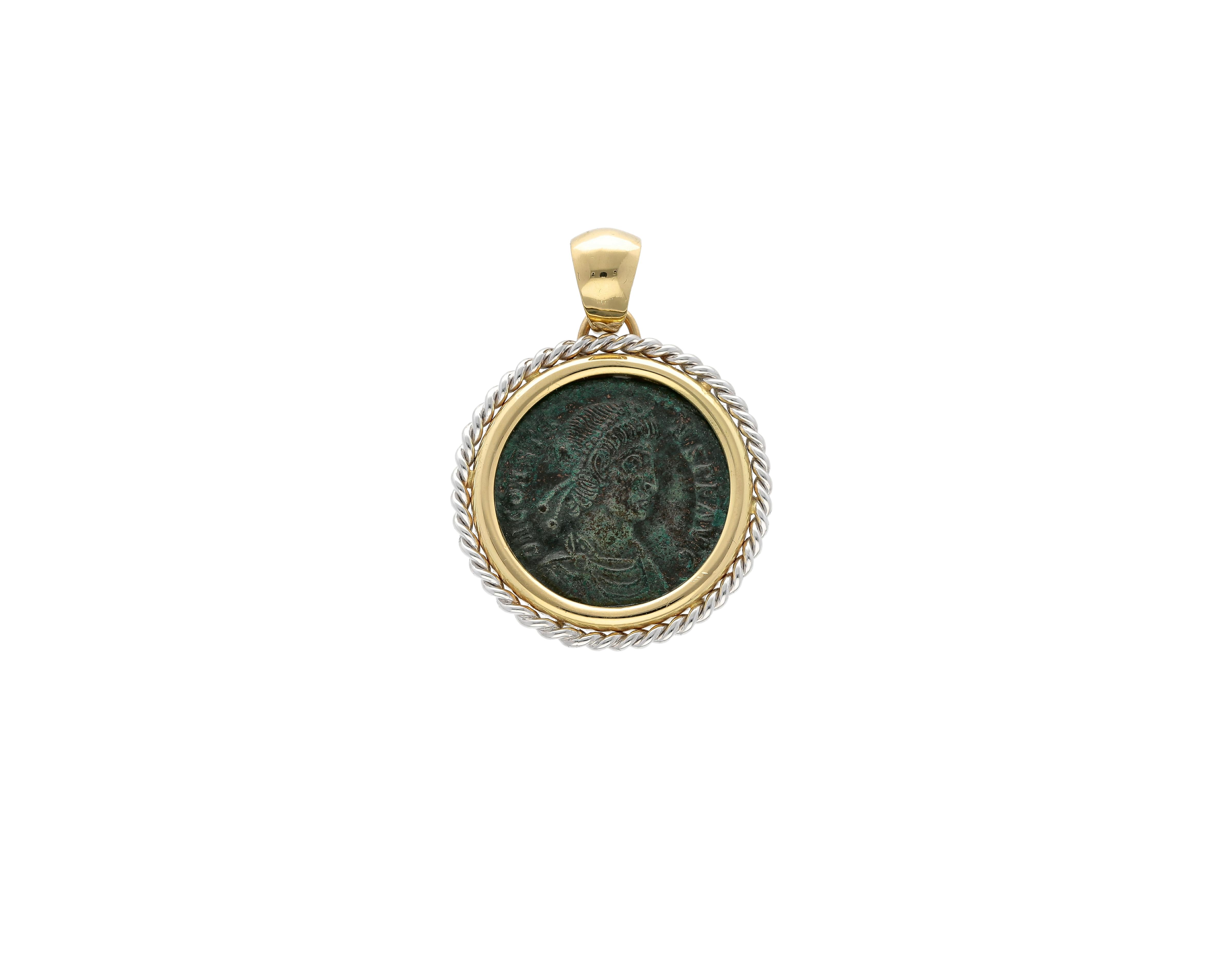 Roman Coin Pendant Emperor Constans in 18kt gold