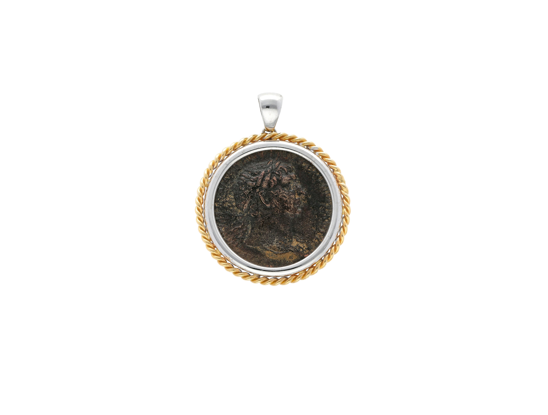 Roman Coin Pendant Emperor trajan in 18kt gold