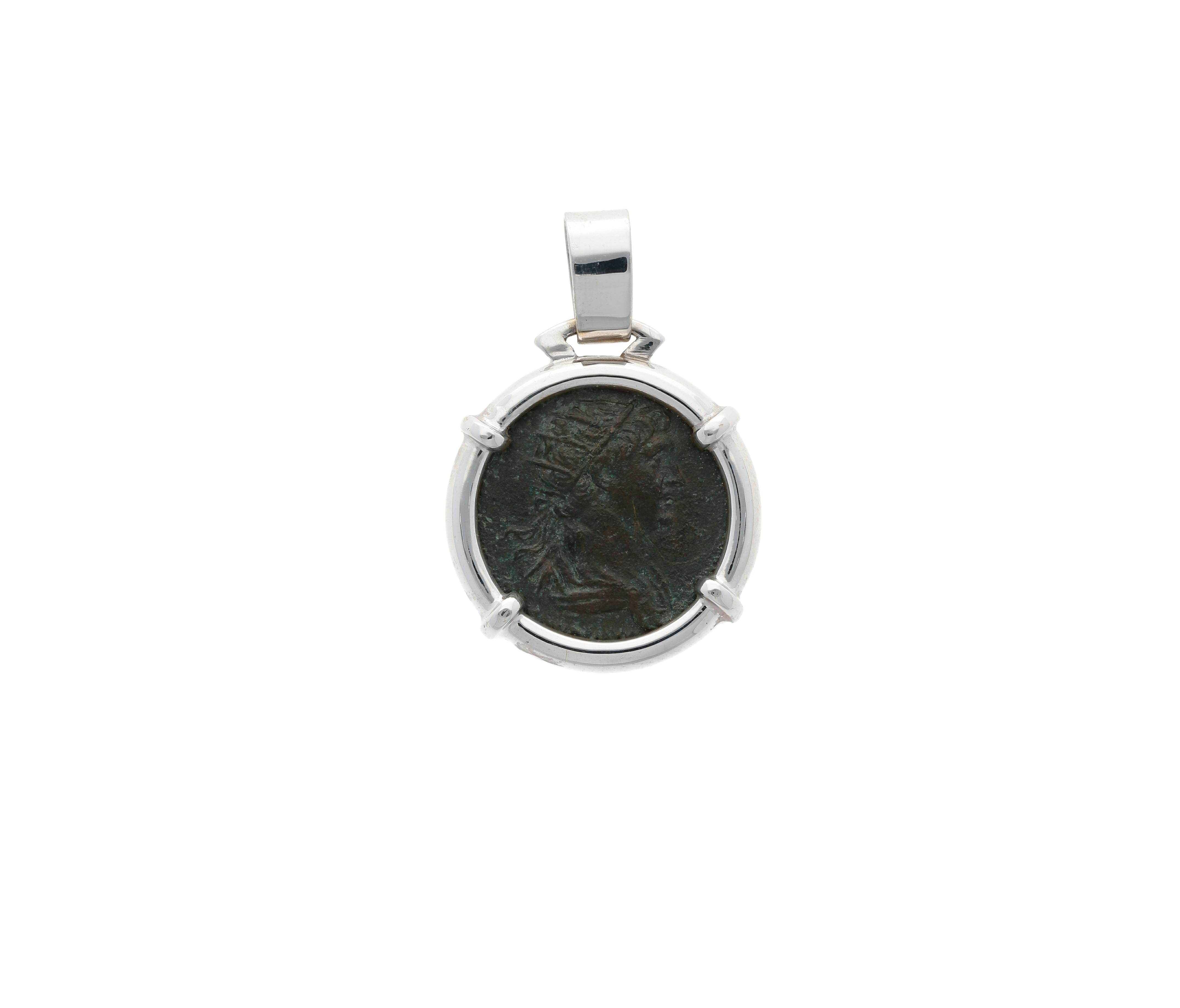 Roman Coin Emperor Nerva in 18 Kt White Gold pendant