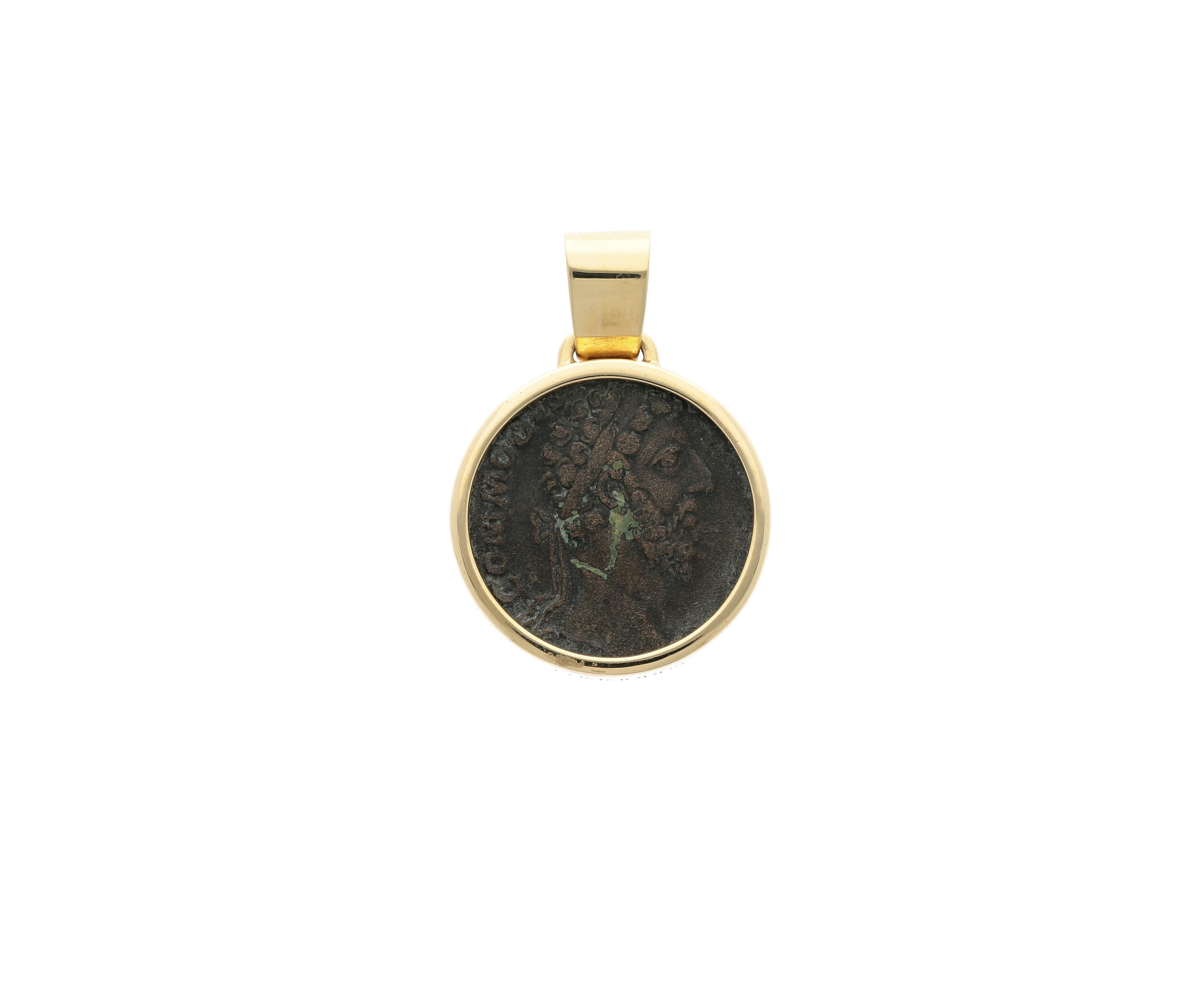 Emperor commodus Roman Coin Bronze denarius, frame 18kt gold