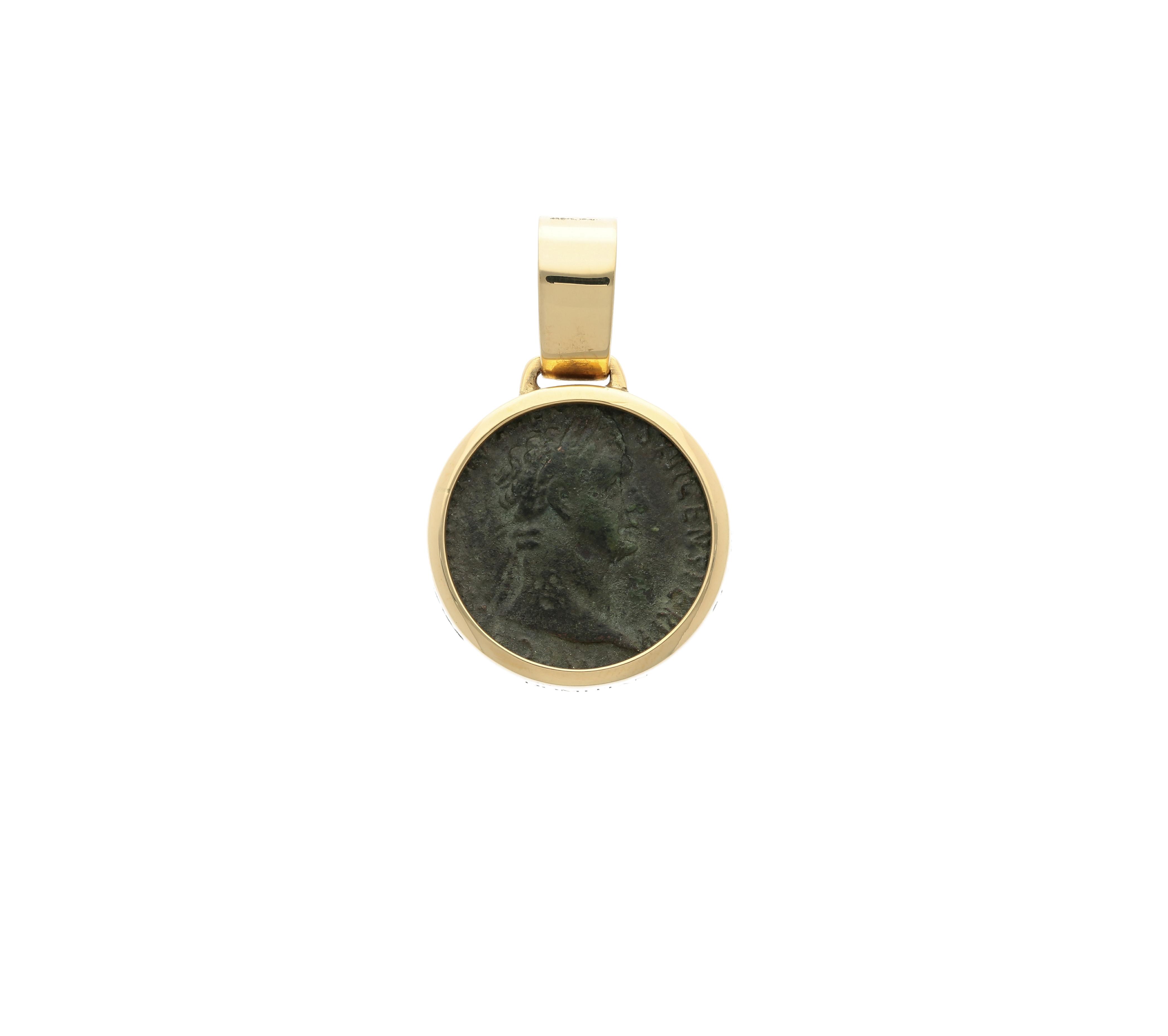 Emperor Domitian Roman Coin Bronze denarius, frame 18kt gold