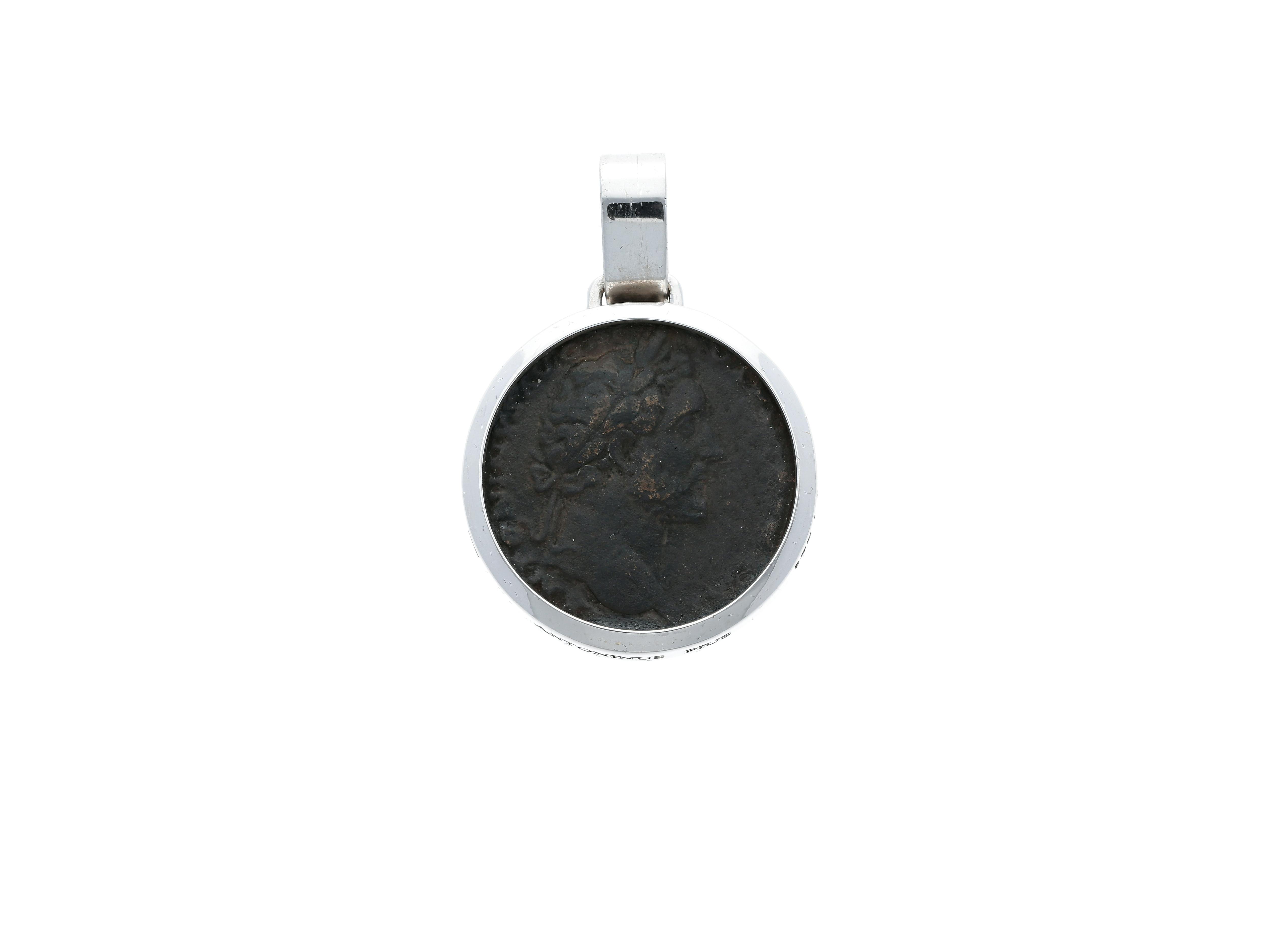 Emperor Antoninus pius Roman Coin Bronze denarius, frame 18kt gold