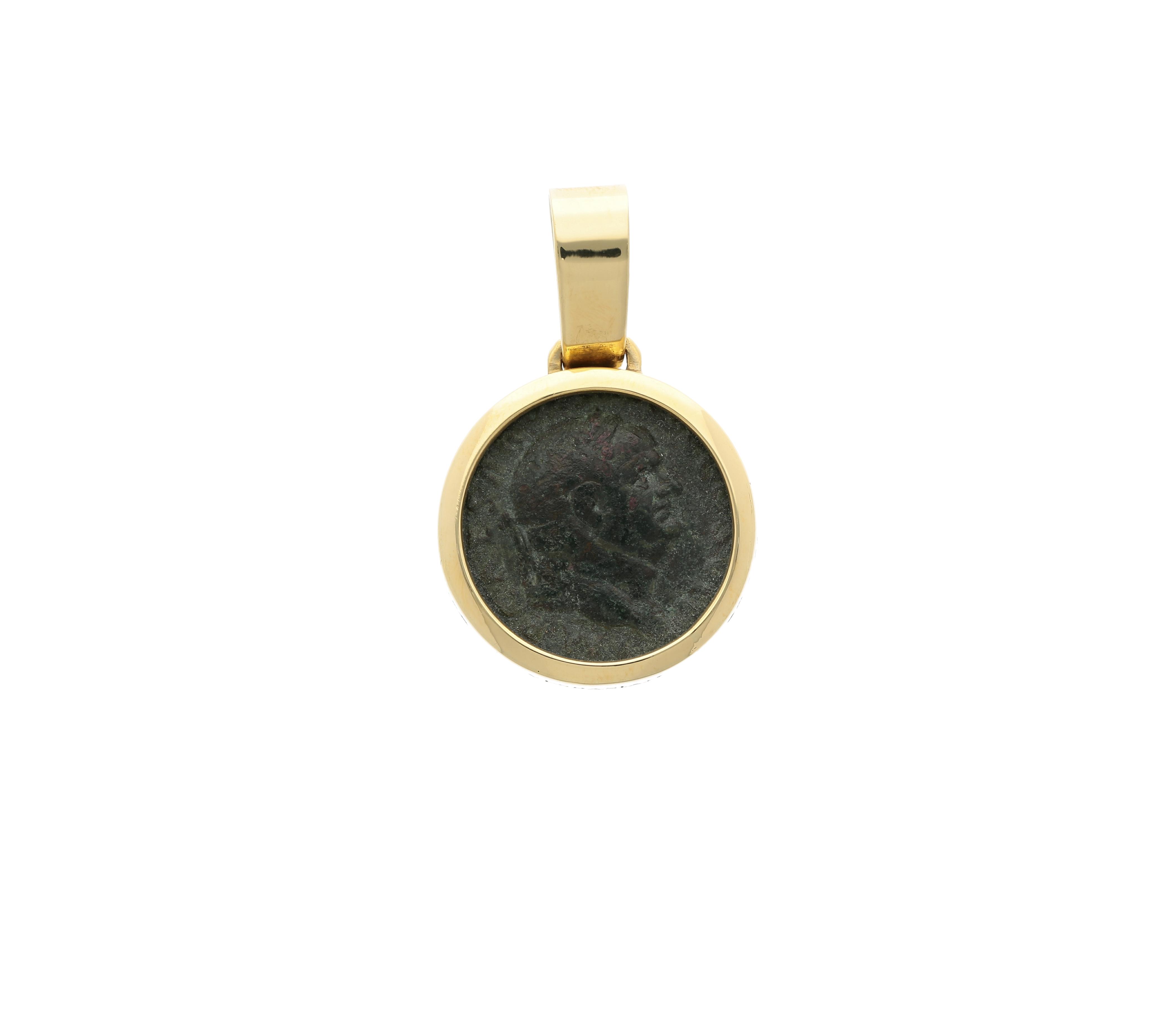 Emperor Vespasian Roman Coin Bronze denarius, frame 18kt gold