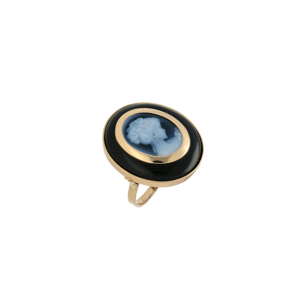 Onyx Blue agate cameo ring...