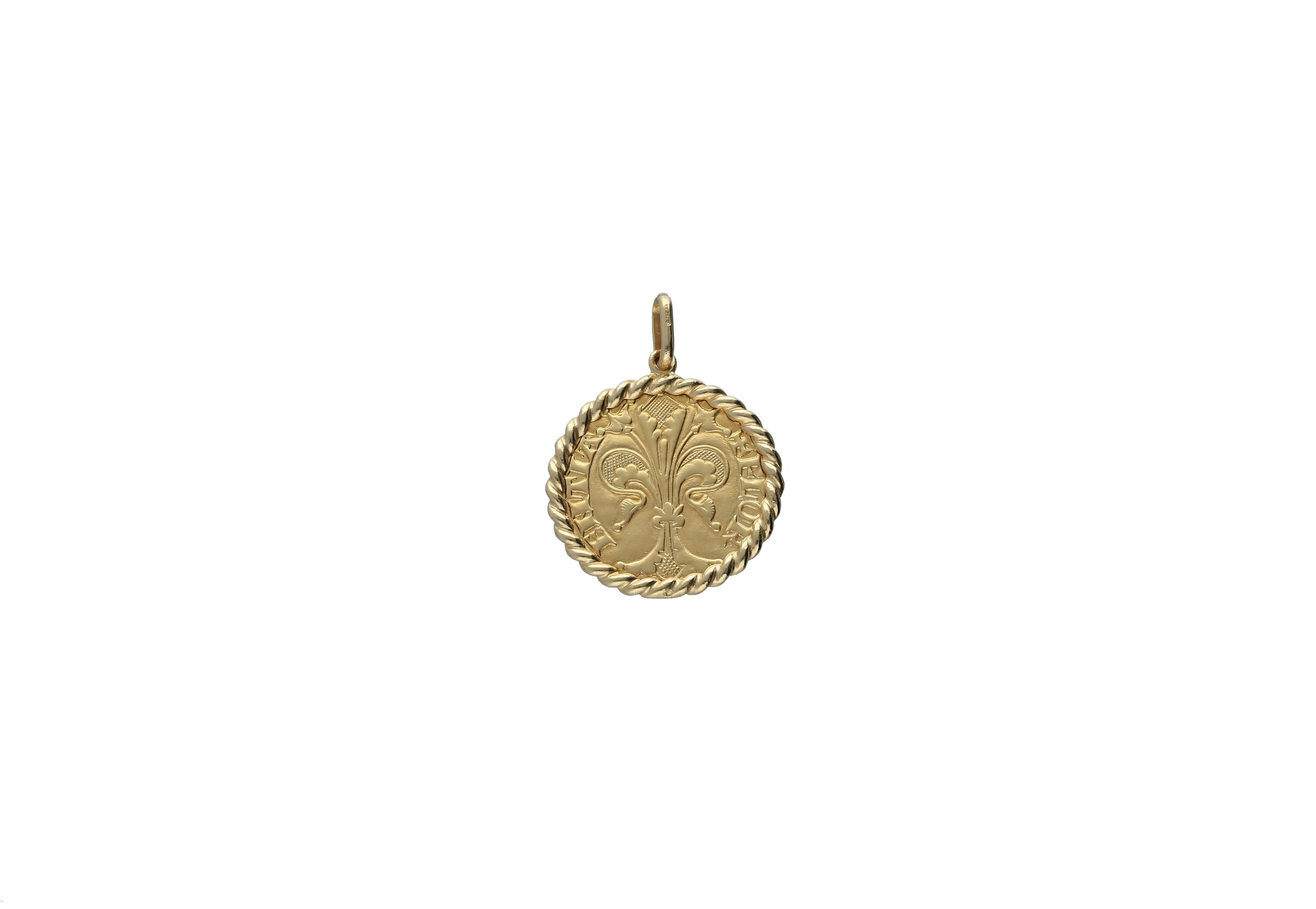 Pendant Charm Florentine coin fiorino in 18kt gold